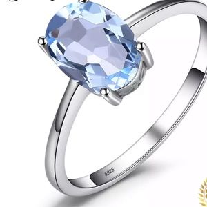 925 Sterling Silver  Genuine Blue Engagement Ring